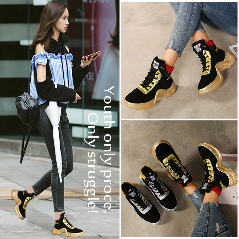 2017 Hot Autumn Winter Sports Shoes For Ladies High Top Walking Sneakers Women Thick Soled Gym Girls Shoes Brand Athletic Shoe недорого