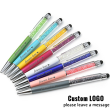 30Pcs Metallic Crystal Pens Free Custom Logo Pen Handwriting Capacitance Diamond Touch Screen Metal Ball Point Office Supply