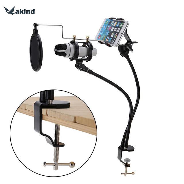 1 conjunto Suspensão Microfone Boom de Braço de Suporte de Montagem Set Suporte De Gravação o MV para o Telefone Móvel Com Clip de Alta Qualidade