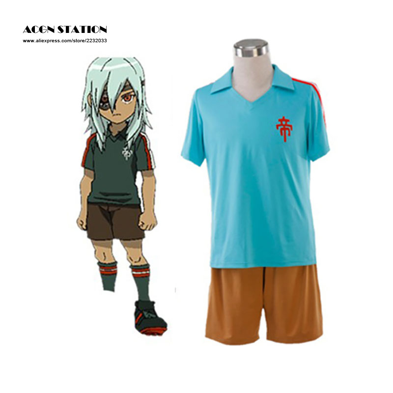 ACGN Station 2017 Free Shipping New Inazuma Eleven Imperial School Cosplay Costume Blue Summer Football Boys Trikot