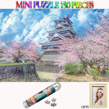 MOMEMO Sakura and Palaces Mini 150 Pieces Jigsaw Puzzle Tube Paper Japan Landscape Toys with Photo Frame