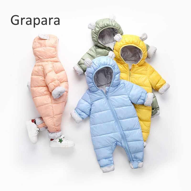 39babaece 2018 Winter Jumpsuit Baby Newborn Snowsuit Snow Wear Coats Boy Warm Romper  100% Down Cotton