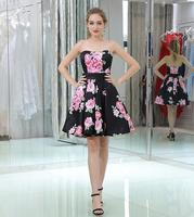 Floral Print Cocktail Dress Sleeveless Knee Length Short Backless Homecoming Party Gown Plus Size Custom