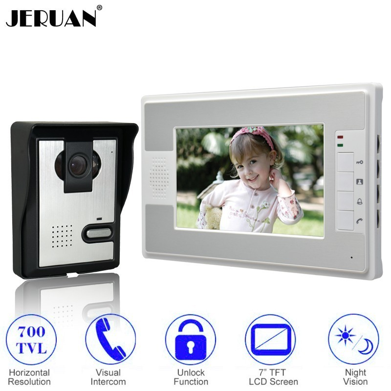 JERUAN Hot Sale Cheap 7 Inch LCD Color Video Door Phone Doorbell Intercom System Kit 700TVL IR Camera In Stock FREE SHIPPING