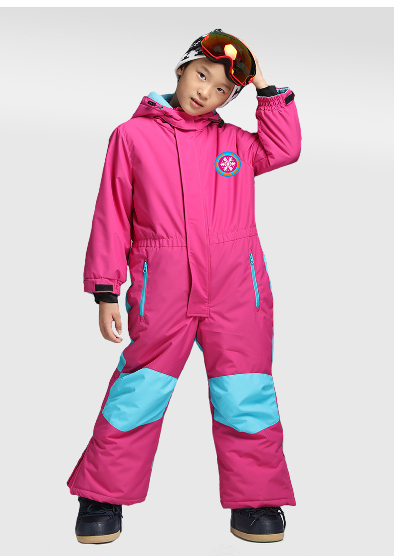 2018 new childrens one-piece ski suit solid color warm hooded ski suit2018 new childrens one-piece ski suit solid color warm hooded ski suit