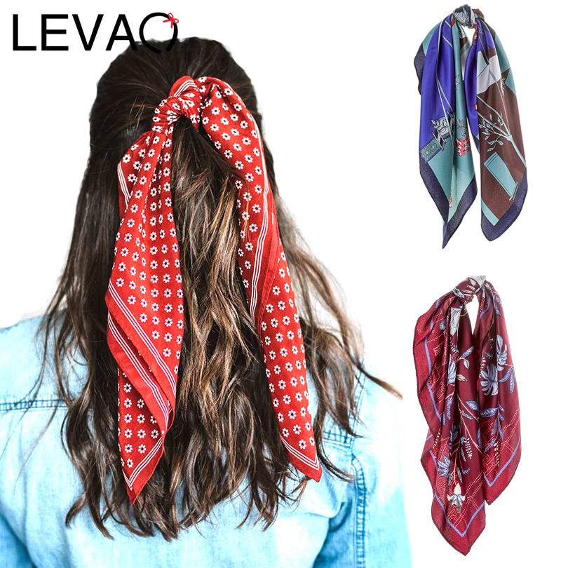 LEVAO Fashion Korea Print Handkerchief Hair ribbon Hair Scarf Elastic Hair Band Women Headband Girls   Headwear   Hair Accessories