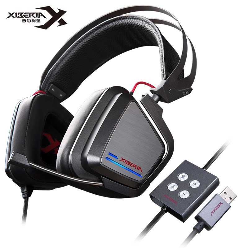 XIBERIA S25 Gaming Headphones 7.1 USB Vibration With Microphone Deep Bass LED Light Gaming Headsets For PC Gamer Retail Package