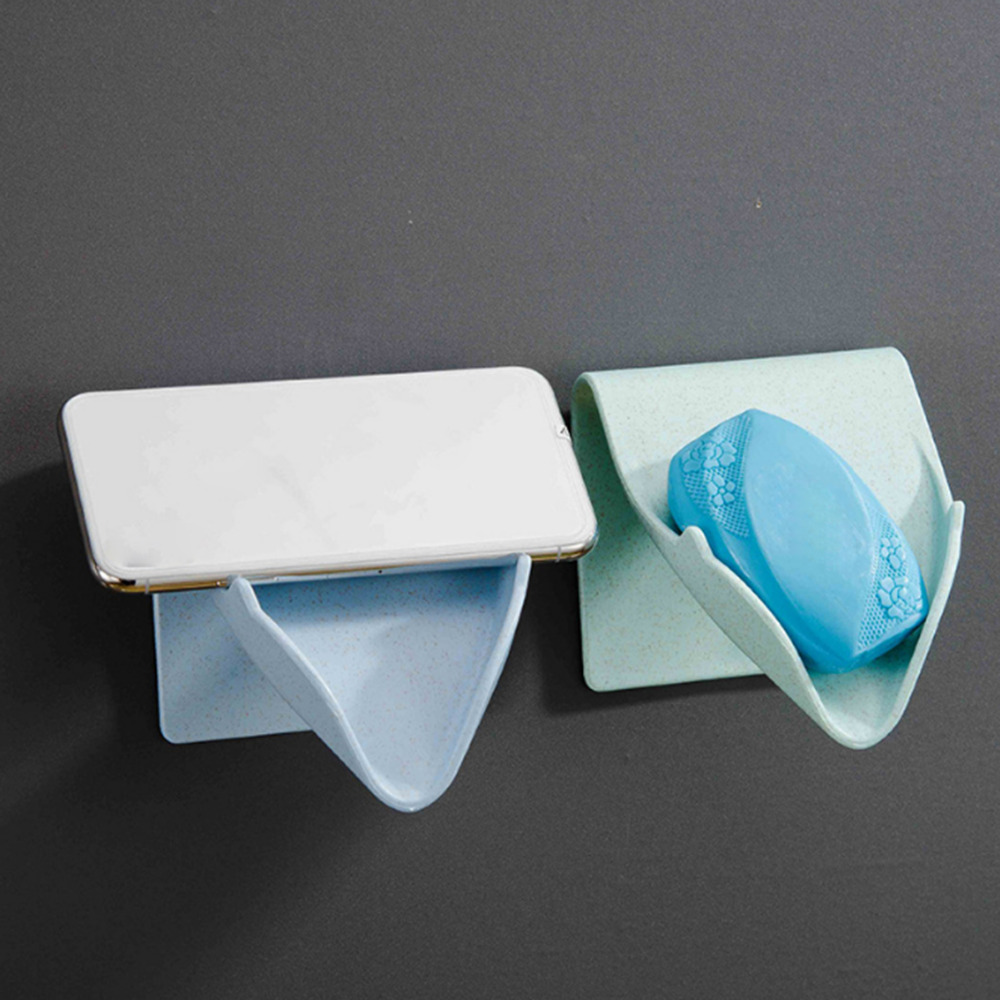 Seamless Wall Hanging Soap Rack Free Punching Soap Box Fast Drain Creative Bathroom Soap Rack Wall Mount Mobile Phone Holder