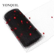Черный цвет микс красный горошек Клетка вуаль 25 см ширина Свадебные сетчатые вечерние головные уборы millinery вуали DIY аксессуары для волос материал шляпы