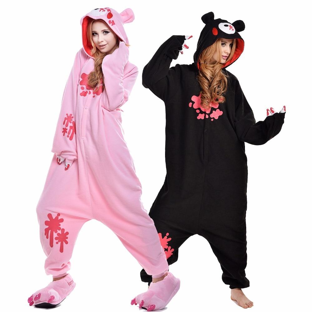 2018 Newcosplay Cartoon Black Gloomy Bear Anime Carnival Cosplay Costume Sleepwear Cute Onesies Unisex Womens Pajamas Set