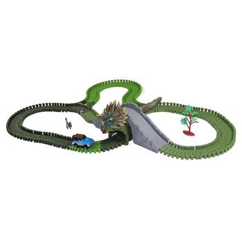 Track Electric Rail Car Military DIY Flex Railway Roller Coaster Racing Tracks Car Toys for kids Rail Train Car Cave Dinosaur