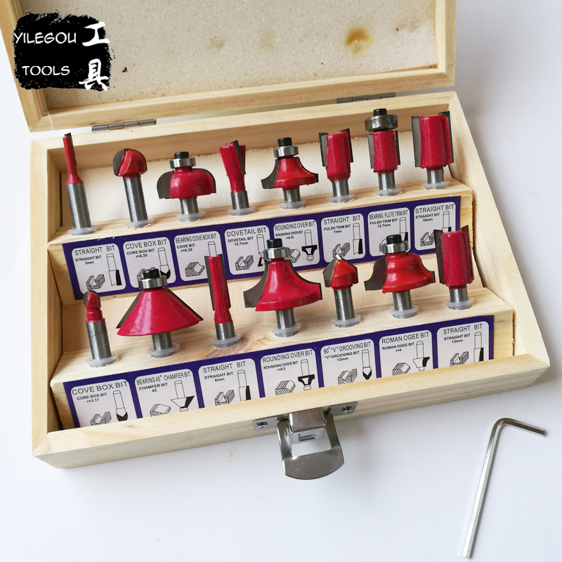 Free Shipping 15Pcs Router Bit Set 1/4