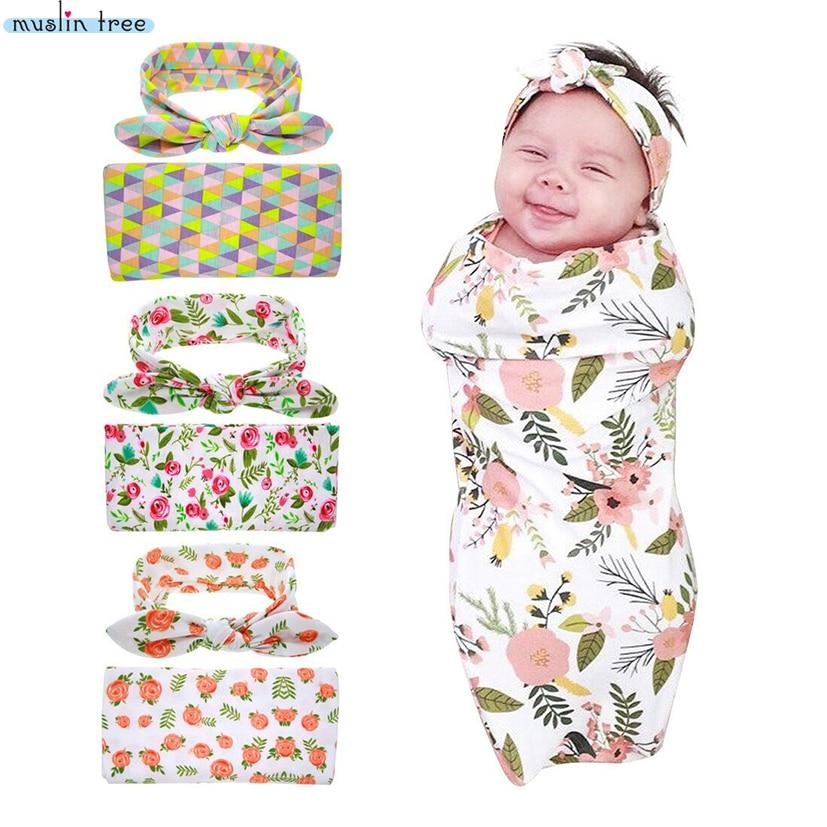 Neugeborenen Swaddle Decke Headwrap Krankenhaus Swaddled Set Floral Baby Swaddle Set Stirnband Baby Foto Prop Top Knoten