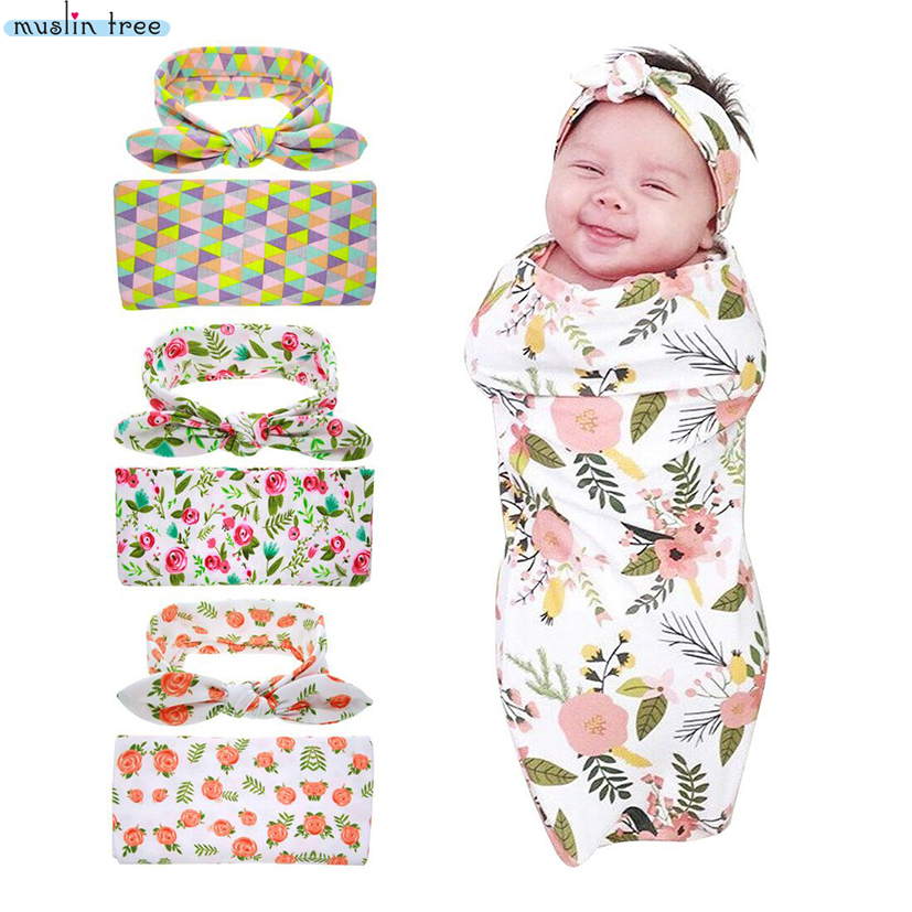 Newborn Swaddle & headwrap Hospital Swaddled Set Floral baby swaddle - Peralatan tempat tidur