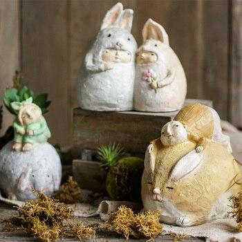 Creative Rough Texture Maroocle Elf Statue Home Decor Crafts Little Boy Kneeling On Rabbit Resin Figurines Wedding Child Gifts