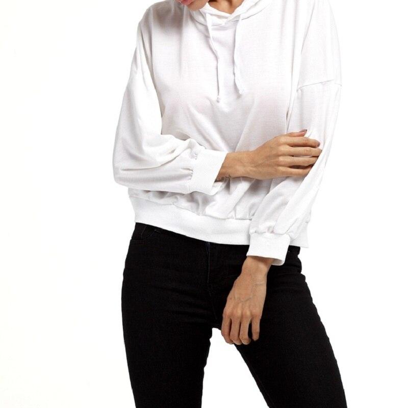 Autumn Female Women Hoodies Sweatshirts Long Sleeve Solid Color Sweatshirt Pullover Tops Plus Size