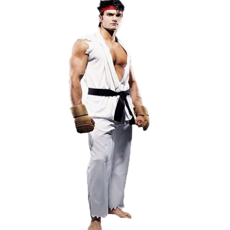 35ea87c81fa4 2018new superhero Halloween costumes for men Boys red whit Street Fighter  game clothing Taekwondo Street Fighter Cosplay costume-in Movie & TV  costumes from ...