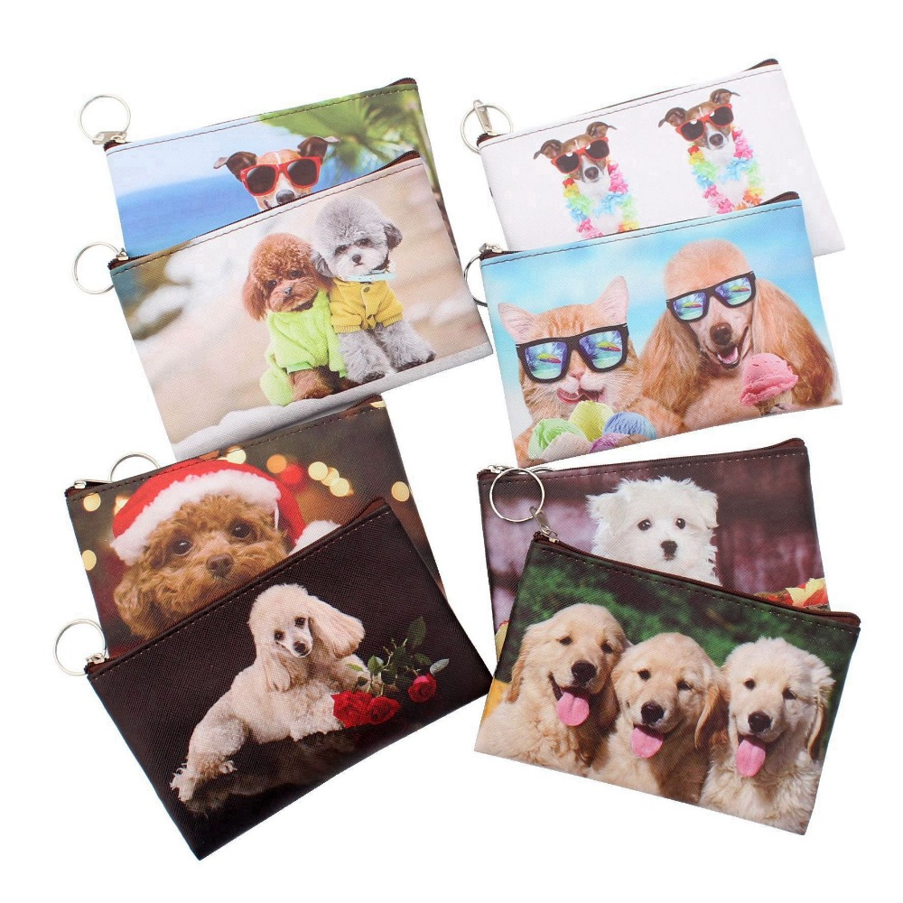 New Cartoon 3D Dogs Coins purses Women mini wallet girl wallet bag ladies zipper coin purses children's pouch small Thin wallets 2017 new coin purses wallet ladies 3d printing cats dogs animal big face change fashion cute small zipper bag for women pouch