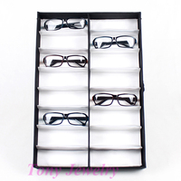 Expedited Shipping 4 High Quality Glasses Sunglass Display Tray Box Case Stand Holder 16 Compartments
