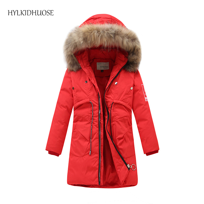 HYLKIDHUOSE 2017 Winter Children Coats Girls Boys Down Coats Long Style Outdoor Kids Warm Thick Outerwear Student Snow Parkas 2017 new baby girls boys winter coats jacket children down outerwear warm thick outdoor kids fur collar snow proof coat parkas