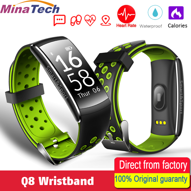 Q8 Smart band IP68 waterproof Smart Wristband Heart rate Smartband Fitness tracker Smart Bracelet Wearable devices for fitness