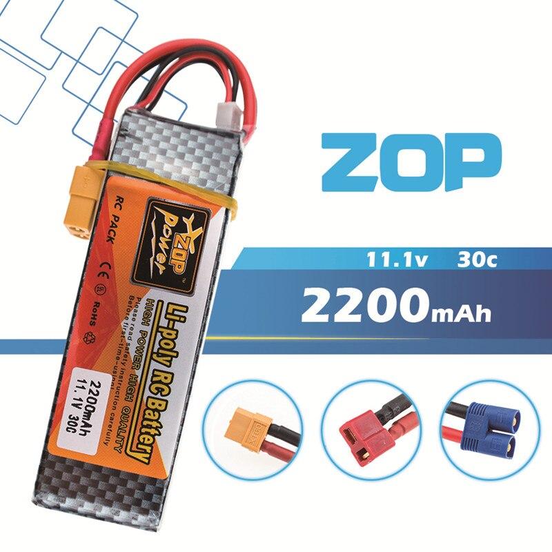 11.1 V 2200 mah 30C 2 pièces Zop Lipo RC Batterie 3 S XT60/T/EC3 Prise Pour Trex-450 Fix-aile RC Hélicoptère RC bateau quadrirotor Avion