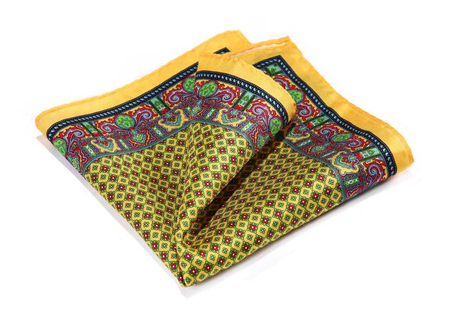 Hn35y amarillo verde rojo HISDERN pañuelo 100% de satén de seda Natural para hombre del pañuelo de moda banquete de boda Classic Pocket Square