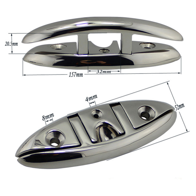 Image 2 - Stainless Steel 316 Marine Hardware Folding Cleat Silver Flip Up Cleat Base for Marine Boat Yacht Boat Accessories-in Marine Hardware from Automobiles & Motorcycles
