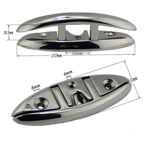 Image 2 - Stainless Steel 316 Marine Hardware Folding Cleat Silver Flip Up Cleat Base for Marine Boat Yacht Boat Accessories