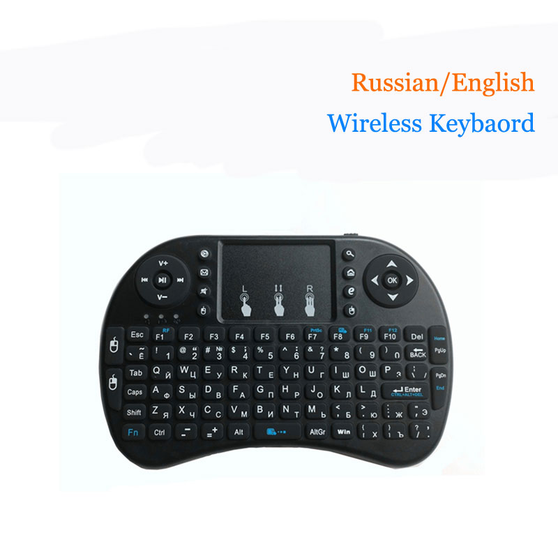Mini i8 Wireless Keyboard 2.4GHz English Russian letters Air Mouse Remote Control Touchpad For Android TV Box Notebook Tablet Pc [avatto] russian hebrew english original i8 mini keyboard 2 4g wireless touchpad air mouse for pc smart tv android box xbox 360