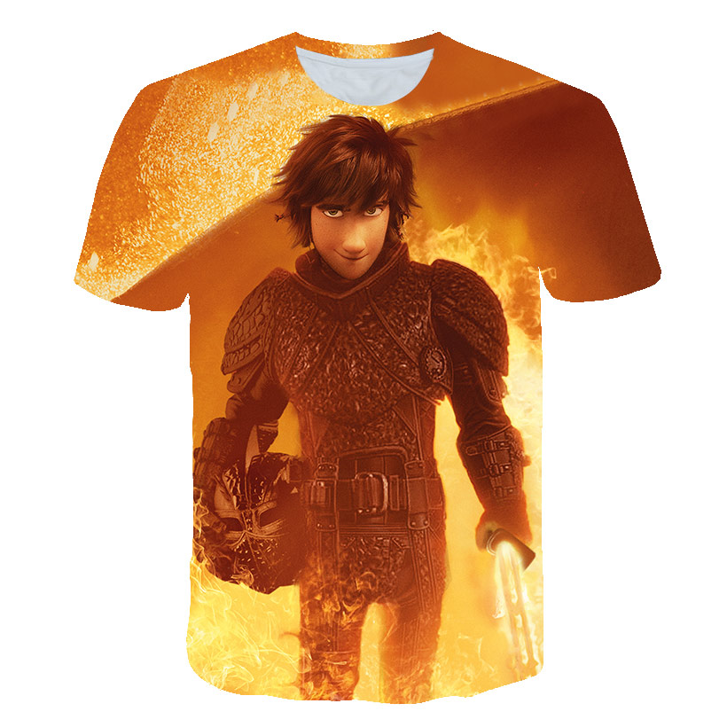 Pocket Toothless T-Shirt Men's Cute Tops How to Train Your Dragon Cartoon T-Shirt 3D T-Shirt Summer Clothes