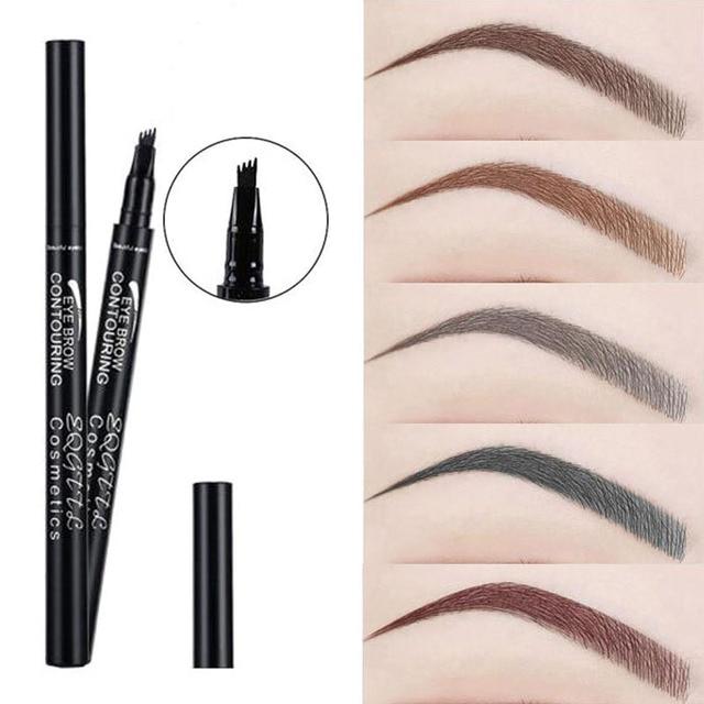 4 potenciadores de cejas de maquillaje de cabeza 5 colores de alta gama automático mate ceja lápiz tinte impermeable tatuaje lápiz largo- duradera