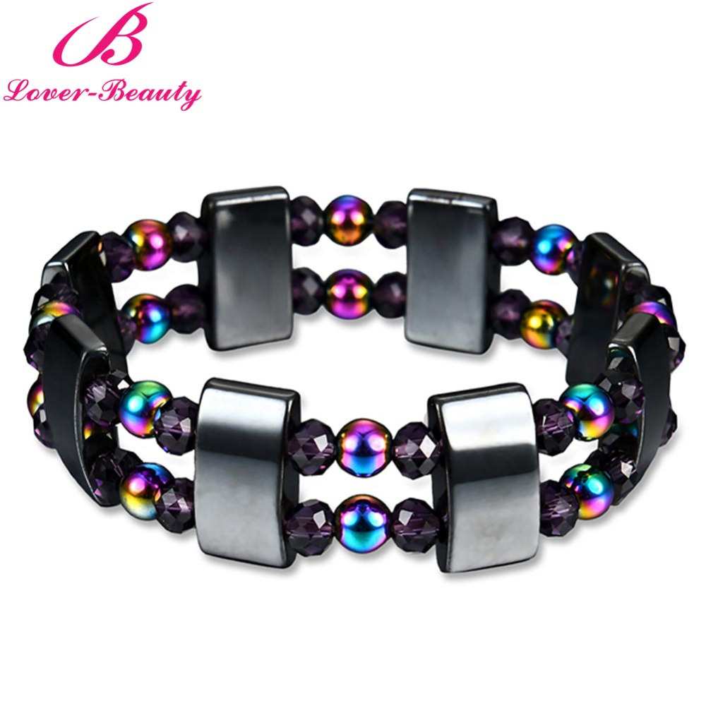 Lover font b Beauty b font Colorful and black Magnet stone magnetic bracelet Weight Loss font