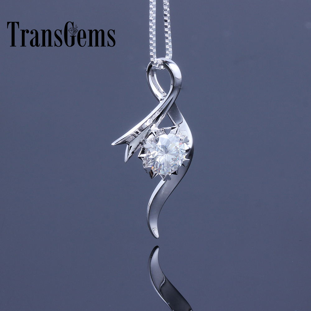 TransGems 18K White Gold 1 Carat 6.5mm Lab Grown moissanite Diamond Solitaire Pendant Chain Necklace for Women transgems 18k rose gold 1 carat lab grown moissanite diamond solitaire pendant necklace solid necklace for women