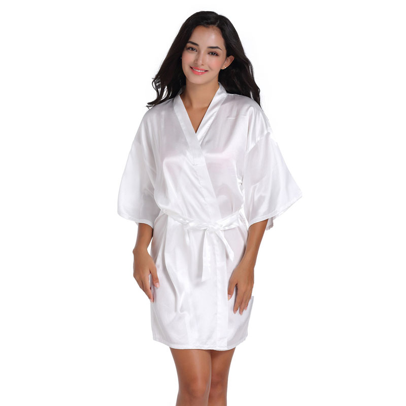 6506c76d732 Women Silk Satin Short Night Robe Solid Kimono Robe Fashion Bath Sexy  Bathrobe Peignoir Femme Wedding Bride Bridesmaid Robe F50