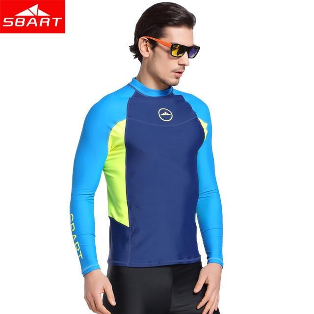 SBART Long Sleeve Men Rash Guards Swimwear Shirts Lycra Sun Protective Wetsuits  Tops Diving Snorkle Swimming d741d34bc