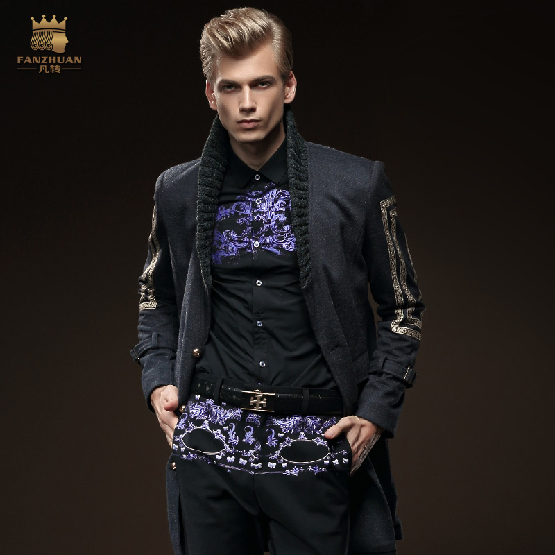 Free Shipping New fashion male Men's winter black long sleeved Wool coat slim Casual Jacket Mens 0101 On Sale цена
