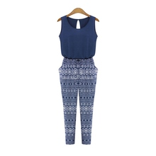 2016 Summer Style Women Print O-neck Jumpsuit overalls Fashion Sleeveless Loose Slim Rompers Sexy Jumpsuits Playsuit YRD