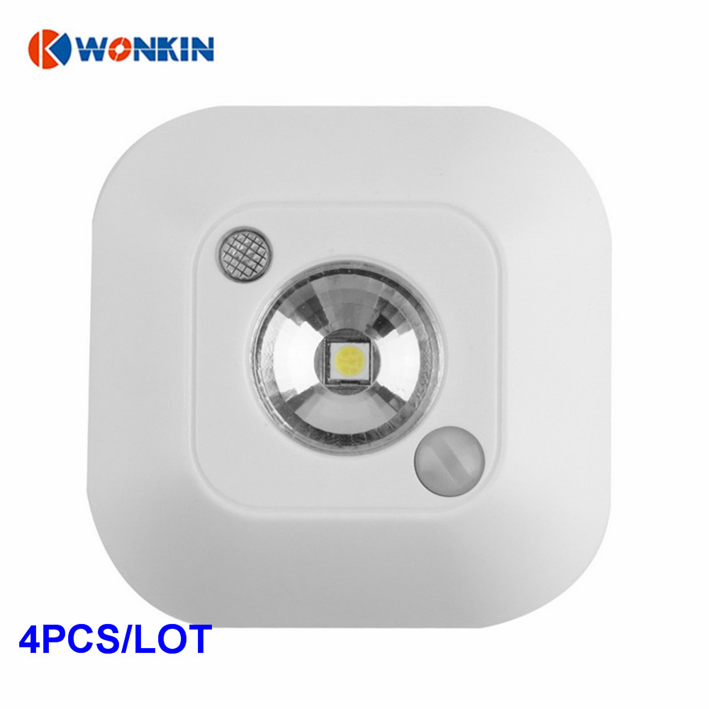 4pcs LED Mini Wireless Infrared Motion Sensor Night Light Wall Emergency Wardrobe Cabinet Night Lamp 4 ch infrared photoelectricity sensor
