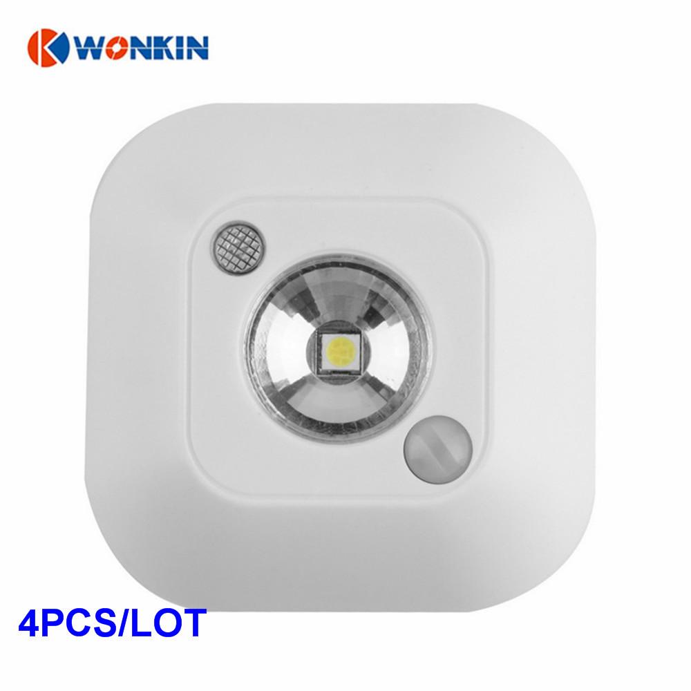 4pcs LED Mini Wireless Infrared Motion Sensor Night Light Wall Emergency Wardrobe Cabinet Night Lamp