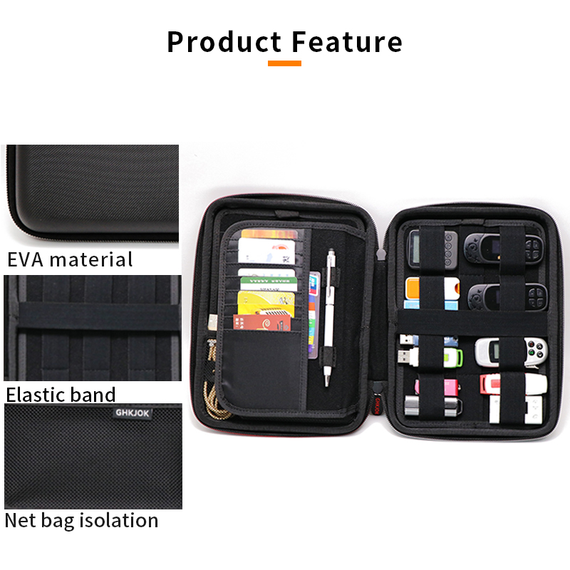 Large Capacity Waterproof Electronic Digital Product External Case Bag For HDD U Disk SD Card USB Data Cable Hard Drive Case Bag