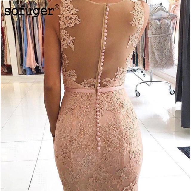 6ceaee7c659b V-Neckline Illusion Back Mermaid Evening Dress 2018 vestidos de fiesta  largos elegantes de gala Lace Long Prom Dresses. Previous; Next