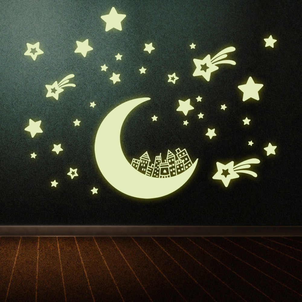 20*25cm night Light Luminous stickers home decor home decoration wall sticker for kids rooms wall decals MOON AND STARS Y0016