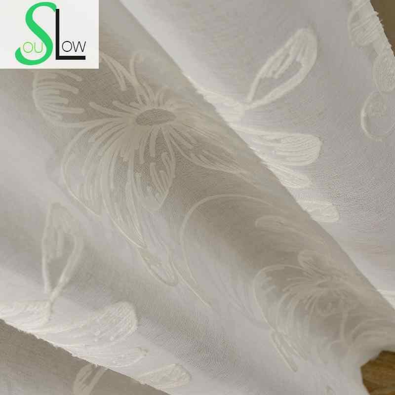 Цветочная вышивка тюль занавески s для гостиной отвесный Volie Тюль-шторы для окон-занавески s Cortinas Rideaux Cortinas Visillos