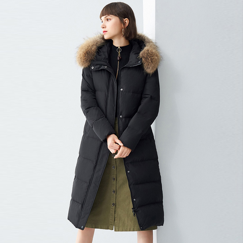 90% White Duck   Down   Jacket Woman Hooded Long   Coats   Winter   Coat   Women Large Raccoon Fur Collar   Down     Coats   Parka YP2099