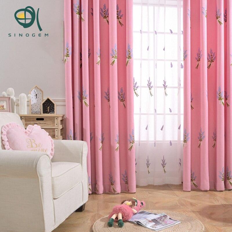 sinogem lavanda designthick cotton lino cortinas blackout cortinas bordadas para las cortinas del dormitorio sala de