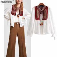 Heyouthoney ethnische mode aushöhlen stickerei muster bluse frauen hemd oansatz volle hülsen verband blusas blusa feminina