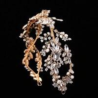 TUANMING Hot Headdress Silver Gold Wedding Headband Retro Bride Hair Accessories Pearls Crystal Baroque Handmade Hair Jewelry
