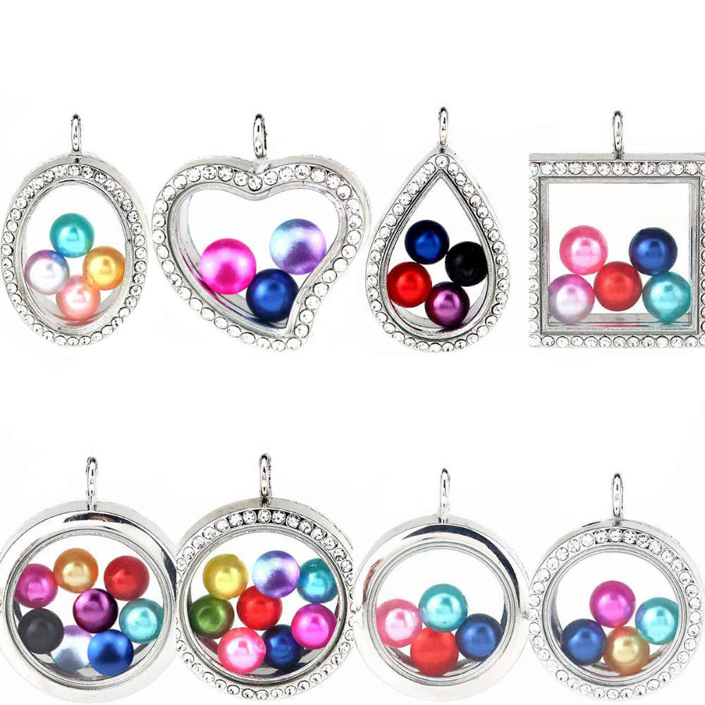 Floating Pearl Pendant Glass Locket Pearl Cage Magnetic Pendant for 8mm/10mm pearl (Mixed color)