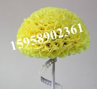 SPR 50cm 20 wedding silk kissing ball plastic inner artificial silk rose(color: yellow) ball 23 colors option EMS free shipping